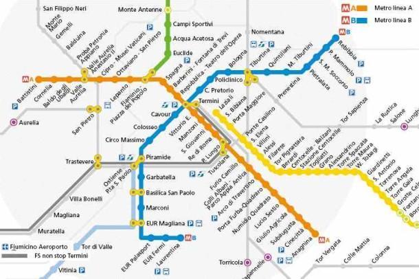 Карта метрополитена Рима