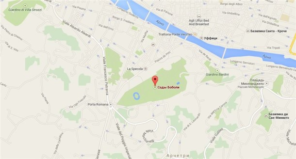 Сады Боболи на карте города