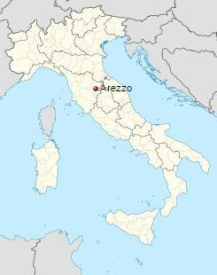 Ареццо на карте Италии